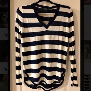 Ralph Lauren Navy and Ivory striped sweater top
